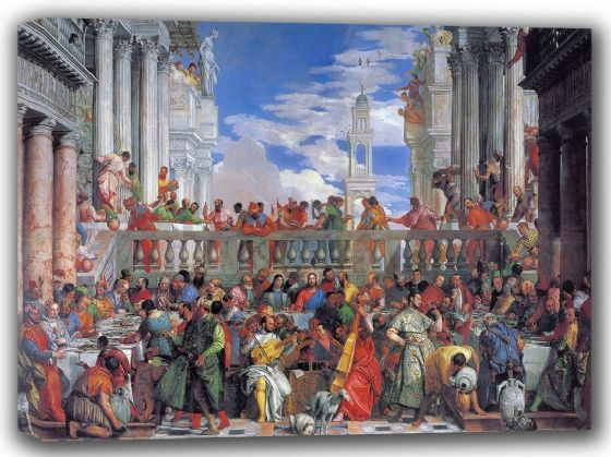 Veronese, (Paolo Caliari): The Marriage Feast at Cana. Fine Art Canvas. Sizes: A4/A3/A2/A1 (002016)